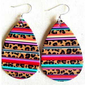 Serape Leopard Leather Drop Earrings NEW